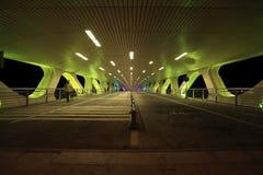 桥梁的绿色夜 免版税库存图片