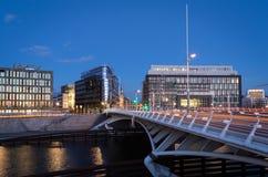 桥梁皇太子在河狂欢的晚上在柏林 免版税库存照片