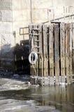 桥梁码头打桩 免版税库存照片