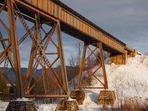 桥梁老生锈的培训冬天 免版税库存图片