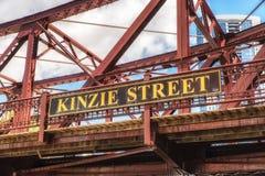 桥梁芝加哥kinzie街道 免版税图库摄影