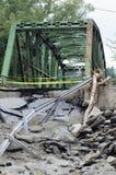 桥梁被毁坏的飓风艾琳 库存照片
