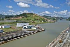 桥梁运河巴拿马视图 库存图片