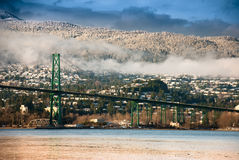 桥梁门狮子北部温哥华 库存图片