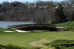 桥梁雪松路线小河高尔夫球 库存图片
