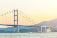 桥梁香港日落 库存图片
