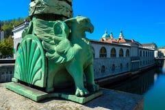 桥梁龙卢布尔雅那斯洛文尼亚 免版税库存照片