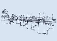 桥梁 得出花卉草向量的背景 免版税图库摄影