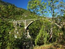 桥梁建筑。Durdevica塔拉在山的弧桥梁, 免版税库存图片