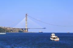 桥梁建设中,伊斯坦布尔,土耳其 免版税图库摄影