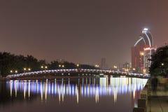 桥梁(yuandang湖夜视图) 库存照片