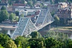 桥梁Blaues Wunder在德累斯顿 免版税库存照片