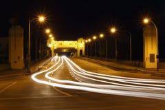 桥梁burrard晚上温哥华 库存照片