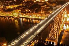 桥梁d luis波尔图日落 路易斯I桥梁 库存照片