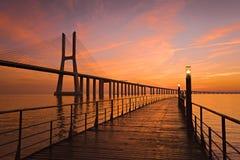 桥梁da gama瓦斯考 免版税库存照片