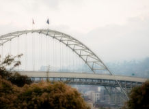 桥梁fremont俄勒冈波特兰 免版税库存图片