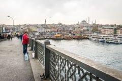 桥梁galata伊斯坦布尔火鸡 免版税库存图片