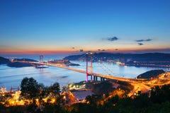 桥梁tsing ma的日落 库存照片