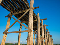 桥梁U-Bein柚木树桥梁 免版税图库摄影