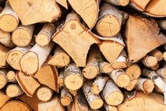 桦树切好的木头  加热的木准备 房子的生态热化 免版税库存照片