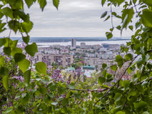 桦树和开花的丁香在前景 在市的背景视图萨拉托夫和伏尔加河,俄罗斯 库存图片