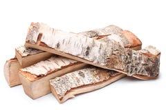桦树木柴 免版税库存照片