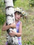 桦树的女孩 库存照片