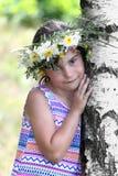 桦树的女孩 库存图片