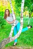 桦树的女孩 图库摄影