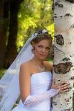 桦树金发碧眼的女人新娘 免版税库存照片