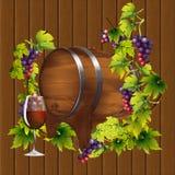 桶在藤的背景的酒 免版税库存照片