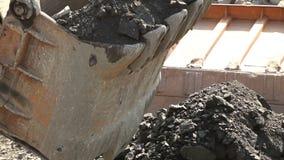 桶工业挖掘机特写镜头 股票录像