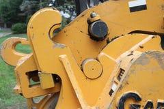 桶挖掘机手肘特写镜头  库存图片