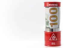 桶油和美元 免版税库存图片