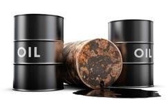 桶泄漏的油 免版税图库摄影