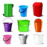 桶集合传染媒介 满桶不同 有把柄、锡、Bitbucket的塑料和空金属的桶的经典瓶子 皇族释放例证