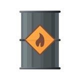 桶黑色图标油 黑油桶象的平的例证 库存图片