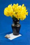 桶水仙在花瓶,在蓝色背景的信封开花 免版税库存图片