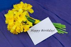 桶水仙开花,在青紫色背景的信封 库存图片