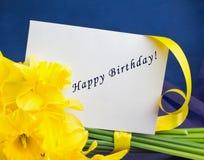 桶水仙开花,在青紫色背景的信封 免版税库存照片
