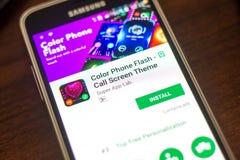 梁赞,俄罗斯- 2018年5月04日:上色在手机显示的电话一刹那机动性app  库存图片