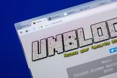 梁赞,俄罗斯- 2018年5月13日:个人计算机, -被疏导的URL显示的被疏导的网站  拉特银币 免版税库存照片