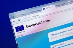 梁赞,俄罗斯- 2018年5月08日:个人计算机, URL -欧罗巴显示的欧罗巴网站  欧盟 库存图片