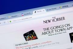 梁赞,俄罗斯- 2018年5月08日:个人计算机, URL -纽约人显示的纽约人网站  com 免版税库存图片