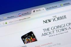 梁赞,俄罗斯- 2018年5月08日:个人计算机, URL -纽约人显示的纽约人网站  com 图库摄影