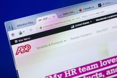 梁赞,俄罗斯- 2018年5月08日:个人计算机, URL - ADP显示的ADP网站  com 免版税库存照片