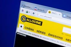 梁赞,俄罗斯- 2018年5月08日:个人计算机, URL - Allocine显示的Allocine网站  Fr 免版税库存照片