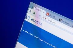 梁赞,俄罗斯- 2018年5月08日:个人计算机, URL - Blogfa显示的Blogfa网站  com 图库摄影