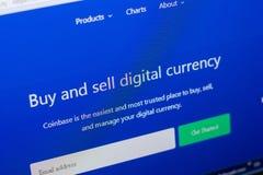 梁赞,俄罗斯- 2018年5月08日:个人计算机, URL - CoinBase显示的CoinBase网站  com 图库摄影