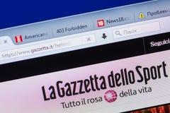 梁赞,俄罗斯- 2018年5月13日:个人计算机, URL - Gazzetta显示的Gazzetta网站  它 免版税库存照片